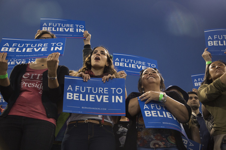 Supporters cheer during a campaign rally for Democratic presidential candidate Sen. Bernie Sanders at California State University on May 17, 2016 in Carson, Calif. (Photo by David McNew/Getty)