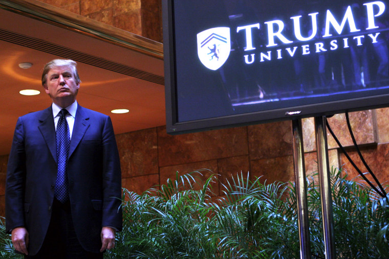 Real estate mogul Donald Trump holds a media conference announcing the establishment of Trump University May 23, 2005 in New York. N.Y. (Photo by Thos Robinson/Getty)