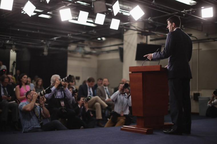 Speaker of the House Paul Ryan (R-WI) holds his weekly news conference in the U.S. Capitol Visitors Center May 26, 2016 in Washington, DC. (Photo by Chip Somodevilla/Getty)