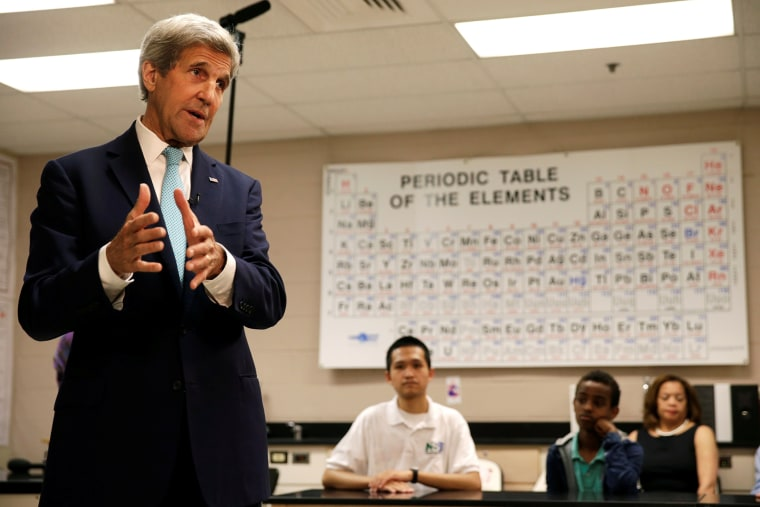 Secretary of State John Kerry (L) speaks about ocean policy and other environmental issues to students at Montgomery Blair High School in Silver Spring, Md., June 1, 2016. (Photo by Gary Cameron/Reuters)