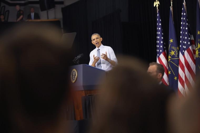 President Barack Obama speaks on June 1, 2016 in Elkhart, Ind. (Photo by Scott Olson/Getty)