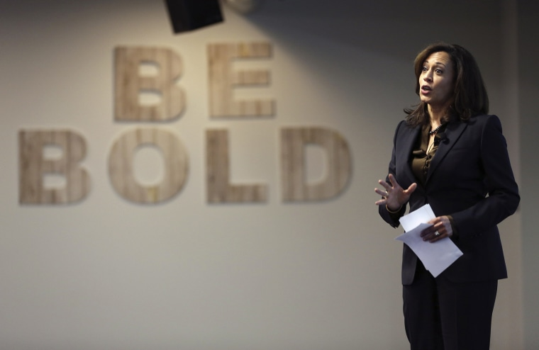 California Attorney General Kamala Harris speaks at the Facebook headquarters in Menlo Park, Calif., Feb. 10, 2015. Harris, who is seeking a U.S. Senate seat, addressed a group of students on Safer Internet Day. (Photo by Robert Galbraith/Reuters)