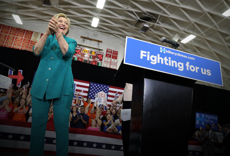 Democratic presidential candidate former Secretary of State Hillary Clinton greets supporters during a campaign rally at Hueneme High School on June 4, 2016 in Oxnard, Calif. (Photo by Justin Sullivan/Getty)
