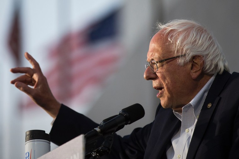 Democratic presidential candidate Senator Bernie Sanders speaks at a GOTV concert and campaign rally at the Los Angeles Memorial Coliseum on June 4, 2016 in Los Angeles, Calif. (Photo by Jonathan Alcorn/AFP/Getty)