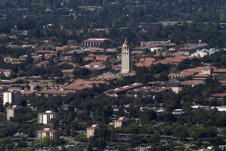 Stanford University's campus is seen in an aerial photo in Stanford, Calif., on April 6, 2016. (Photo by Noah Berger/Reuters)