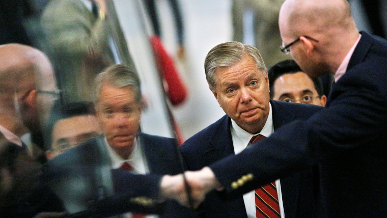 U.S. Senator Lindsey Graham talks to a reporter as he arrives at Capitol Hill in Washington U.S. on May 10, 2016. (Photo by Carlos Barria/Reuters)