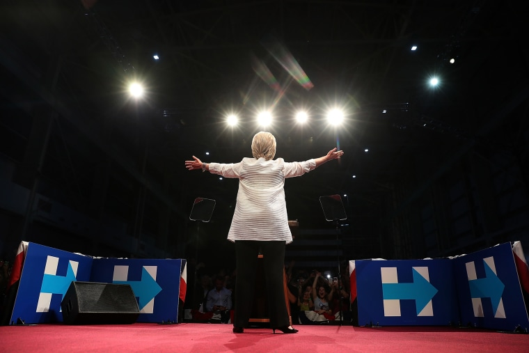 Democratic presidential candidate former Secretary of State Hillary Clinton speaks during a primary night event on June 7, 2016 in Brooklyn, New York. (Photo by Justin Sullivan/Getty)