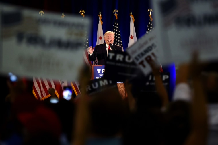 Republican presidential candidate Donald Trump speaks during a rally at the San Jose Convention Center in San Jose, Calif. on June 2, 2016. (Photo by Josh Edelson/AFP/Getty)