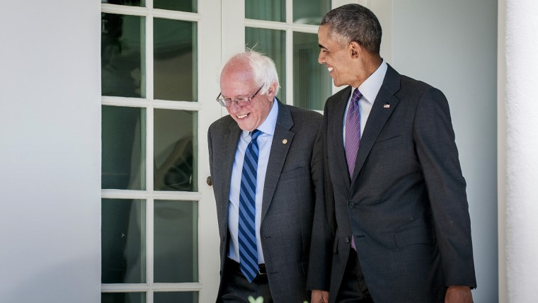 President Barack Obama walks with Democratic presidential candidate Bernie Sanders down the Colonnade during their meeting at the White House in Washington, D.C., June 9, 2016. (Photo by Pete Marovich/Pool/EPA)