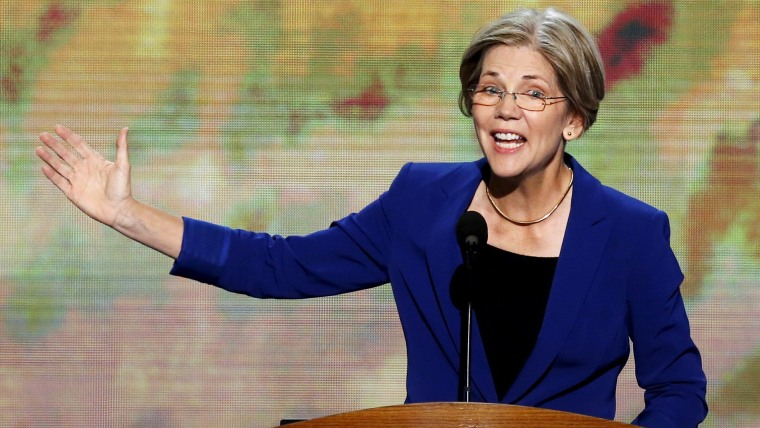 Elizabeth Warren, who was then still a candidate for the U.S. Senate in Massachusetts, addresses the Democratic National Convention in Charlotte, N.C., Sept. 5, 2012. (Photo by Jason Reed/Reuters)