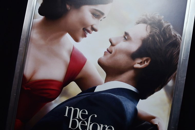 "A poster of ""Me Before You"" at its world premiere at AMC Loews Lincoln Square 13 theater on May 23, 2016 in New York City. (Photo by Dimitrios Kambouris/Getty)"