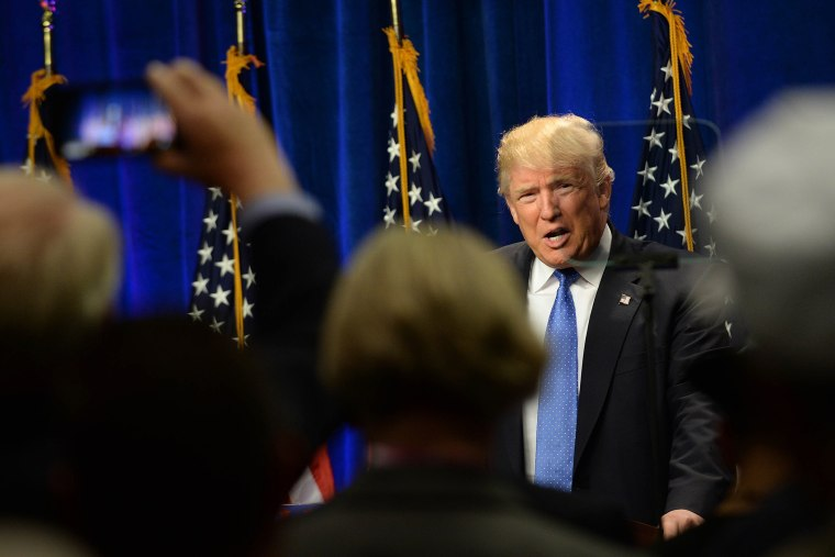 Republican Presidential candidate Donald Trump speaks at Saint Anselm College June 13, 2016 in Manchester, N.H. (Photo by Darren McCollester/Getty)