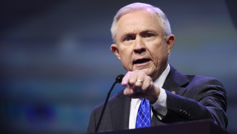 Sen. Jeff Sessions (R-Ala.) speaks at the National Rifle Association's NRA-ILA Leadership Forum during the NRA Convention at the Kentucky Exposition Center on May 20, 2016 in Louisville, Ky. (Photo by Scott Olson/Getty)