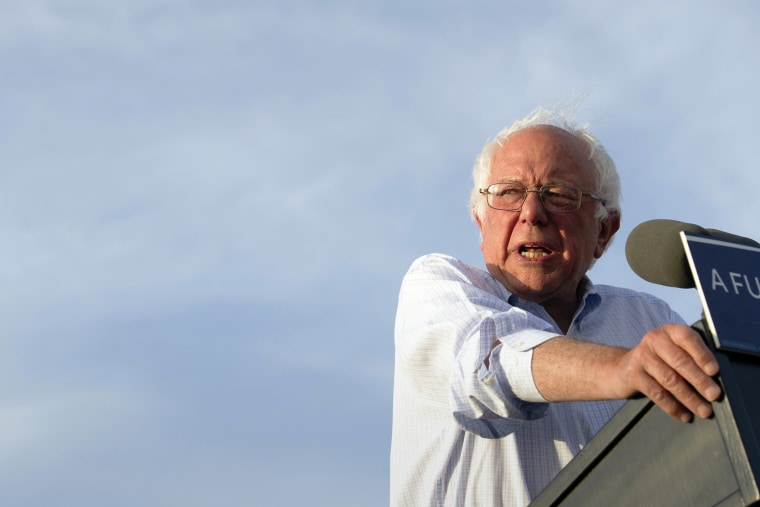 Democratic presidential candidate Sen. Bernie Sanders, I-Vt., speaks at a rally in Washington, June 9, 2016. (Photo by Cliff Owen/AP)
