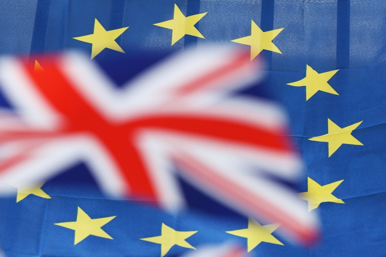 British and European Union flags on June 22, 2016. (Photo by Sean Gallup/Getty)