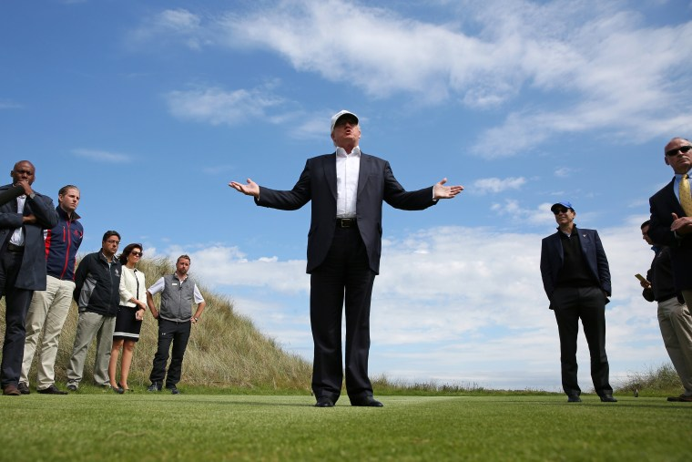 Republican presidential candidate Donald Trump speaks to the media on the golf course at his Trump International Golf Links in Aberdeen, Scotland, June 25, 2016. (Photo by  Carlo Allegri/Reuters )