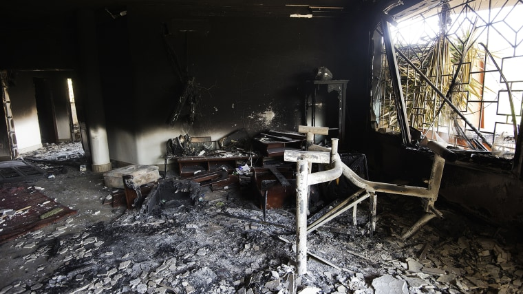 A picture shows the interior of the burnt US consulate building in the eastern Libyan city of Benghazi on Sept. 13, 2012. (Photo by Gianluigi Guercia/AFP/Getty)
