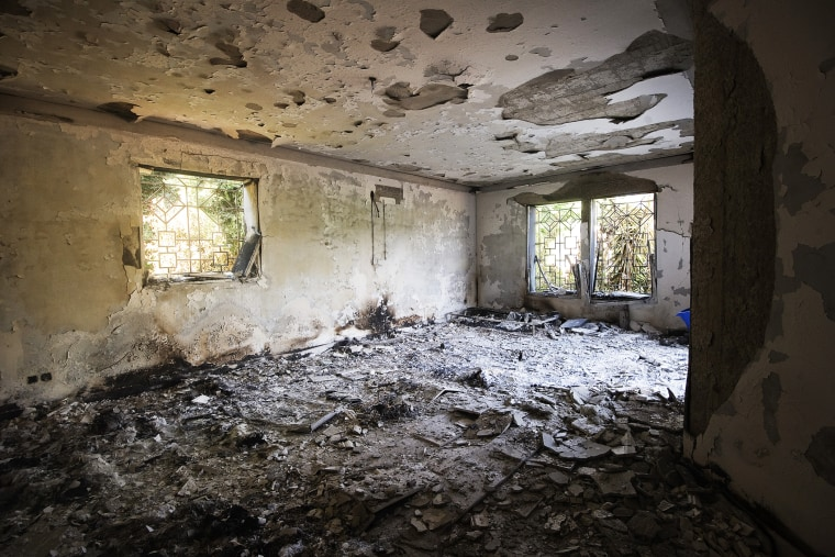 A picture shows the damage inside the burnt US consulate building in Benghazi on Sept. 13, 2012. (Photo by Gianluigi Guercia/AFP/Getty)