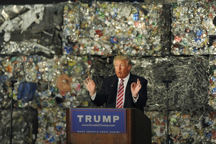 Republican presidential candidate Donald Trump delivers a speech on his economic policy at the Alumisourse Building in Monessen, Penn., June 28, 2016. (Photo by Louis Ruediger/Reuters)