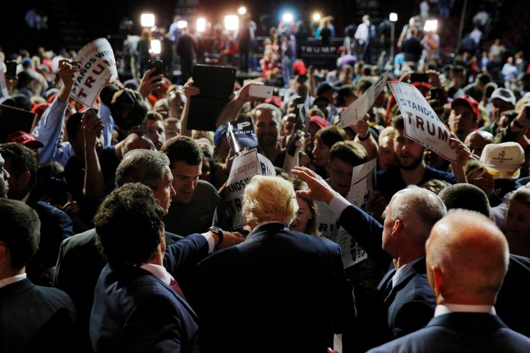 Republican presidential candidate Donald Trump greets audience members at a campaign rally in Bangor, Maine, June 29, 2016. (Photo by Bryan Snyder/Reuters)