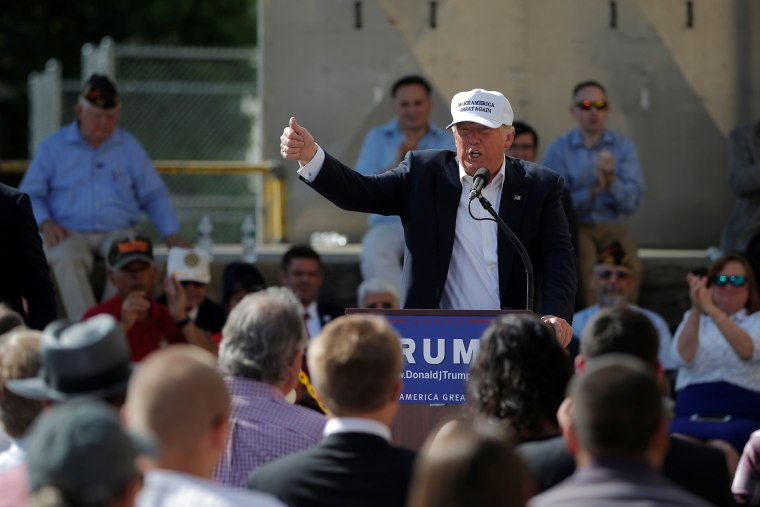 Republican presidential candidate Donald Trump speaks at a campaign town hall meeting outside a closed Osram Sylvania manufacturing facility in Manchester, N.H., June 30, 2016. (Photo by Brian Snyder/Reuters)