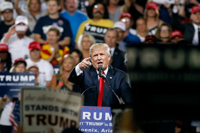 Republican presidential candidate Donald Trump speaks to a crowd of supporters during a campaign rally on June 18, 2016 in Phoenix, Ariz. (Photo by Ralph Freso/Getty)