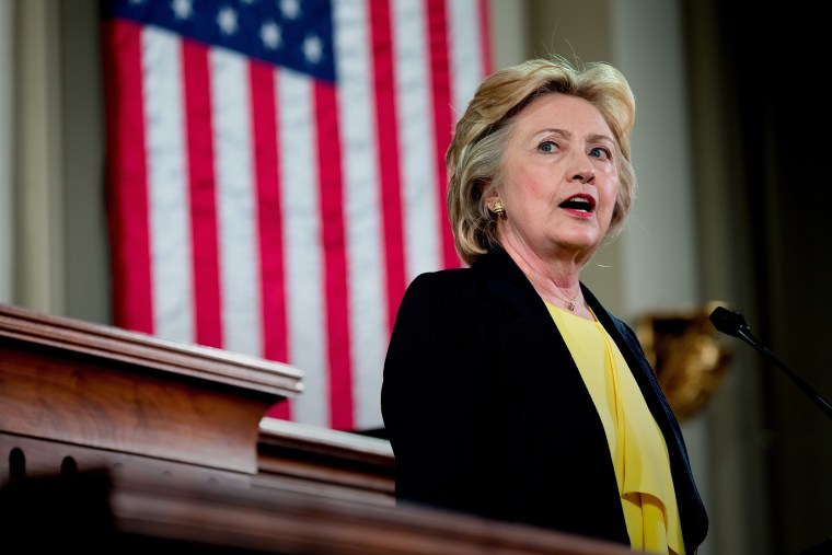 Democratic presidential candidate Hillary Clinton Speaks at the Old State House in Springfield, Ill., July 13, 2016.
