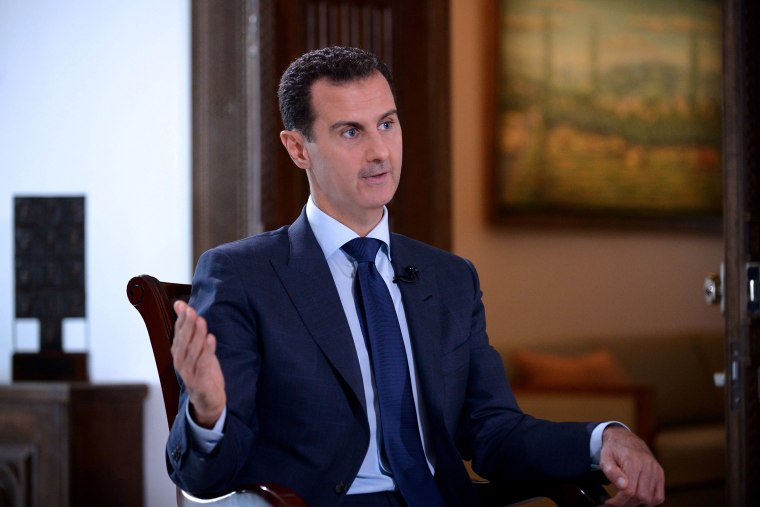A handout picture released by the official Syrian Arab News Agency (SANA) on July 14, 2016 shows Syrian President Bashar al-Assad speaking during an interview with NBC News in the capital Damascus. (Photo by SANA/Handout/AFP/Getty)