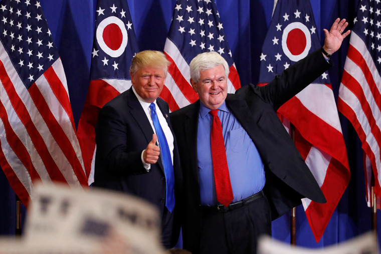 Former Speaker of the House Newt Gingrich greets U.S. Republican presidential candidate Donald Trump at a rally at the Sharonville Convention Center in Cincinnati, Ohio July 6, 2016. (Photo by Aaron P. Bernstein/Reuters)