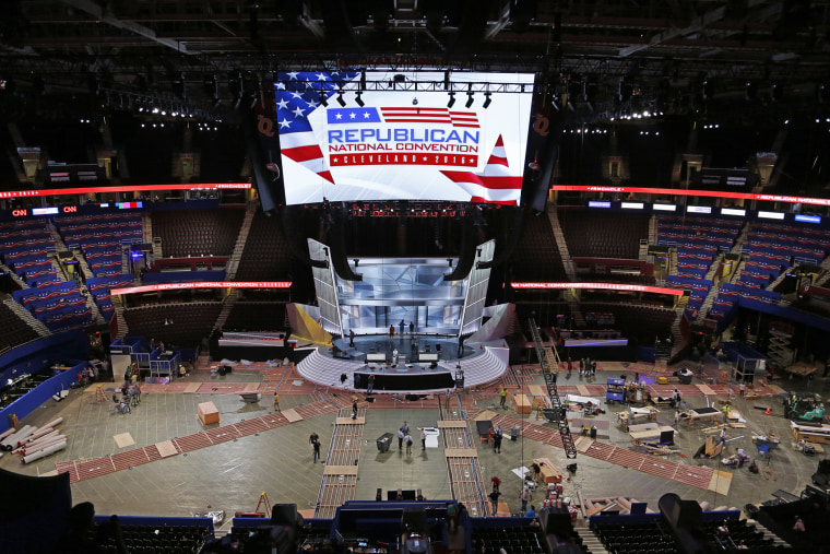 The Quicken Loans Arena in downtown Cleveland, Ohio, is prepared for the upcoming Republican National Convention, July 13, 2016.