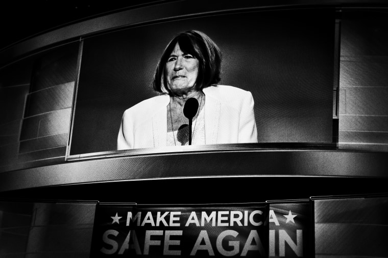 Pat Smith, mother of Benghazi victim Sean Smith, speaks during the opening day of the Republican National Convention in Cleveland, Ohio, July 18, 2016.