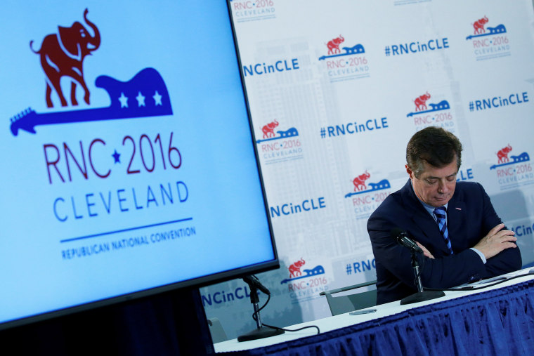 U.S. Republican presidential candidate Donald Trump's campaign chair and convention manager Paul Manafort appears at a press conference at the Republican Convention on July 19, 2016 in Cleveland, Ohio. (Photo by Carlo Allegri/Reuters)