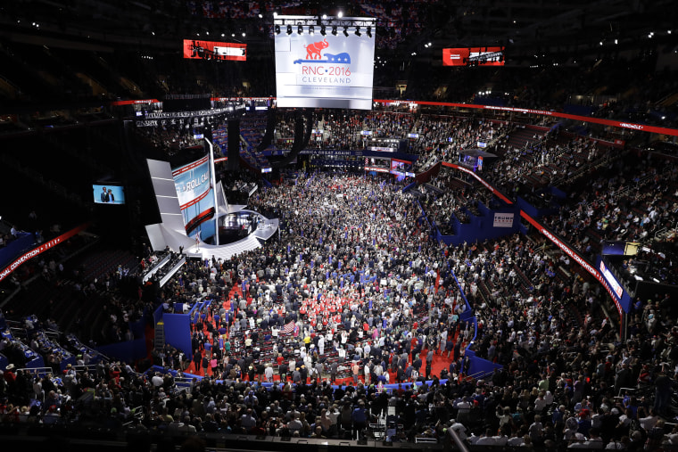 Delegates fill the floor during the second day session of the Republican National Convention in Cleveland, July 19, 2016. (Photo by Matt Rourke/AP)