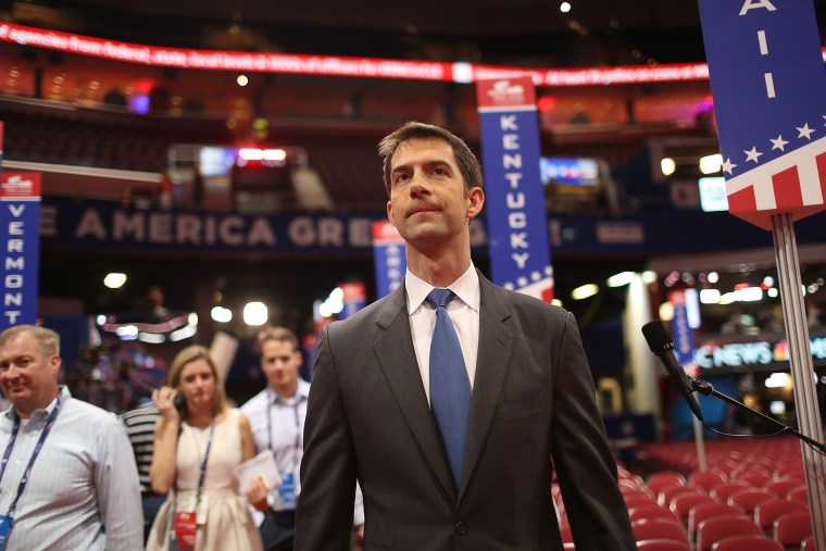 Sen. Tom Cotton (R-AR) visits the Quicken Loans Arena ahead of the Republican National Convention on July 17, 2016 in Cleveland, Ohio. (Photo by Joe Raedle/Getty)