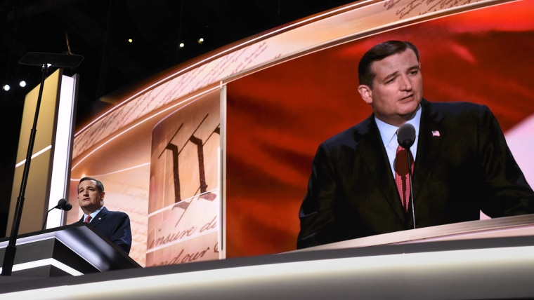 Senator Ted Cruz addresses delegates on day three of the Republican National Convention at the Quicken Loans Arena in Cleveland, Ohio on July 20, 2016. (Photo by Dominick Reuter/AFP/Getty)