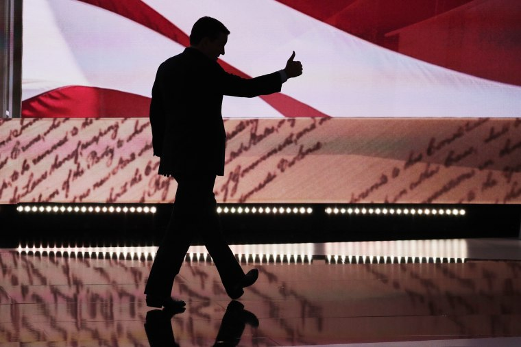 Sen. Ted Cruz, R-Tex., flashes a thumbs up as he leaves the stage during the third day of the Republican National Convention in Cleveland, July 20, 2016. (Photo by J. Scott Applewhite/AP)