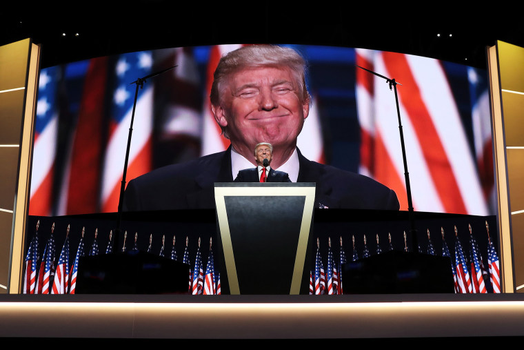 Republican presidential candidate Donald Trump delivers a speech during the evening session on the fourth day of the Republican National Convention on July 21, 2016 in Cleveland, Ohio. (Photo by John Moore/Getty)
