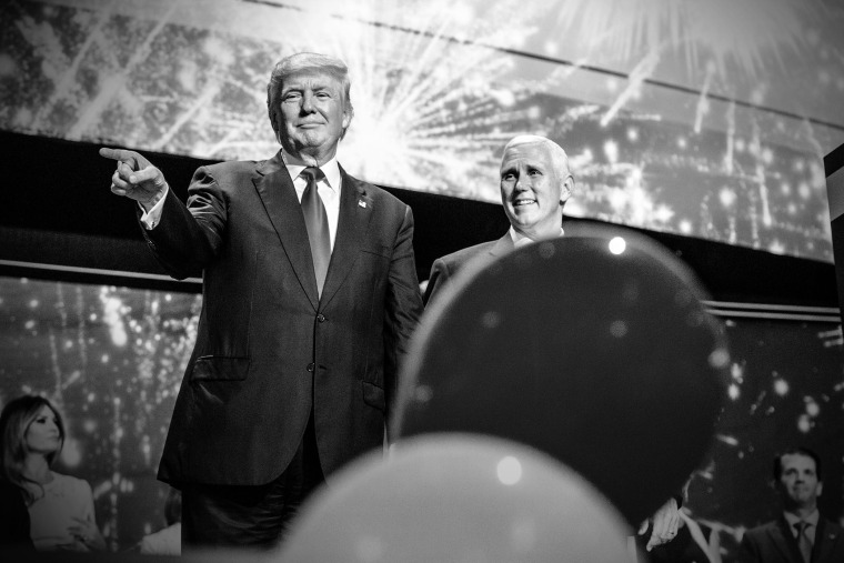 Republican Presidential candidate Donald Trump and Republican Vice Presidential candidate Mike Pence celebrate on the last night of the Republican National Convention, July 21, 2016, in Cleveland, Ohio. (Photo by Mark Peterson/Redux for MSNBC)