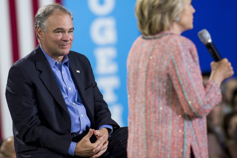Democratic Presidential candidate Hillary Clinton speaks during a campaign rally with US Senator Tim Kaine, Democrat of Virginia, at Ernst Community Cultural Center in Annandale, Va., July 14, 2016. (Photo by Saul Loeb/AFP/Getty)