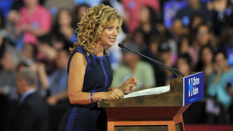 Democratic National Committee Chair, Congresswoman Debbie Wasserman Schultz (D-Fla.) addresses a campaign rally for Democratic presidential candidate Hillary Clinton and running mate Tim Kaine (Photo by Gaston De Cardenas/AFP/Getty)