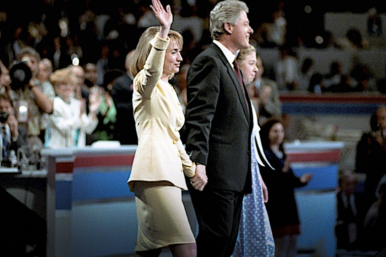 Former Gov. Bill Clinton introduces his wife Hillary and daughter Chelsea to the 1992 Democratic National Convention in New York, NY. (Photo by Mark Reinstein/Corbis/Getty)
