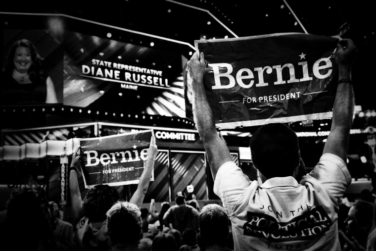 Delegates for Senator Bernie Sanders show their support at the Democratic National Convention in Philadelphia, July 25, 2016. (Photo by Mark Peterson/Redux for MSNBC)