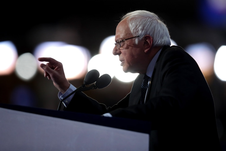 Sen. Bernie Sanders (I-VT) delivers remarks on the first day of the Democratic National Convention at the Wells Fargo Center, July 25, 2016 in Philadelphia, Penn. (Photo by Chip Somodevilla/Getty)