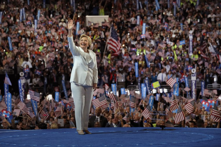 Democratic presidential nominee Hillary Clinton waves as she arrives at the fourth and final night at the Democratic National Convention in Philadelphia, Pa., July 28, 2016. (Photo by Brian Snyder/Reuters)
