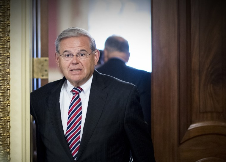 Sen. Bob Menendez (D-NJ) leaves the Senate Democrats' policy lunch in the Capitol on July 6, 2016. (Photo By Bill Clark/CQ Roll Call/AP)