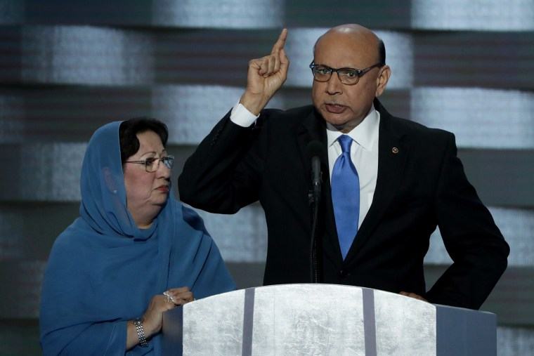 Khizr Khan, father of deceased Muslim U.S. Soldier Humayun S. M. Khan, delivers remarks on the fourth day of the Democratic National Convention at the Wells Fargo Center, July 28, 2016 in Philadelphia, Penn. (Photo by Alex Wong/Getty)