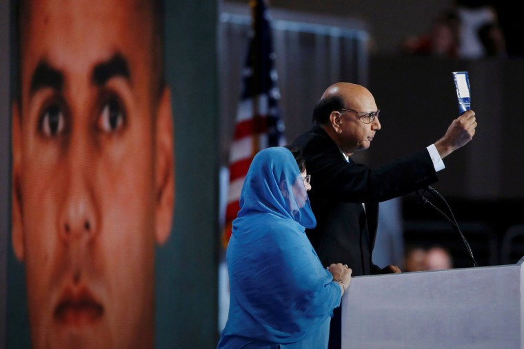 Khizr Khan, who's son Humayun (L) was killed serving in the U.S. Army, speaks at the Democratic National Convention in Philadelphia, Penn., July 28, 2016. (Photo by Lucy Nicholson/Reuters)