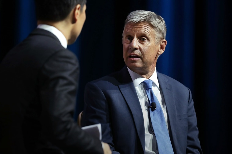 Libertarian presidential nominee Gary Johnson speaks to moderator Richard Lui of MSNBC during a 2016 Presidential Election Forum at The Colosseum at Caesars Palace, Aug. 12, 2016 in Las Vegas, Nev. (Photo by Alex Wong/Getty)