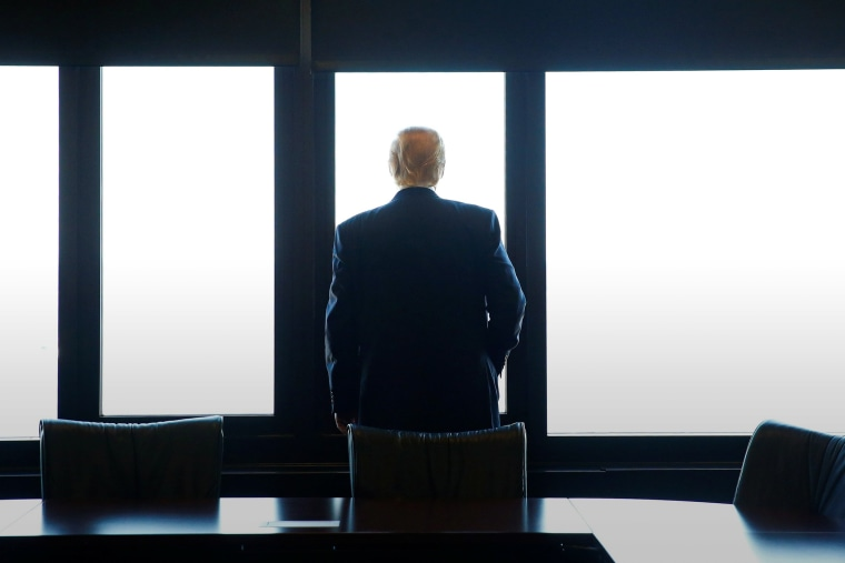 Republican presidential nominee Donald Trump looks out at Lake Michigan during a visit to the Milwaukee County War Memorial Center in Milwaukee, Wis., Aug. 16, 2016. (Photo by Eric Thayer/Reuters)