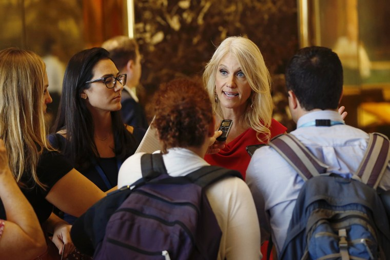 Kellyanne Conway, new campaign manager for Republican presidential candidate Donald Trump, speaks to reporters in the lobby of Trump Tower in New York, Aug. 17, 2016. (Photo by Gerald Herbert/AP)